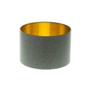 Light Grey Wool Drum Lampshade Brushed Gold Inner