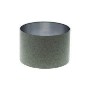 Light Grey Wool Drum Lampshade Brushed Silver Inner