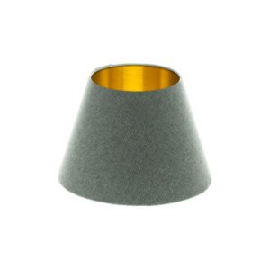 Light Grey Wool Empire Lampshade Brushed Gold Inner