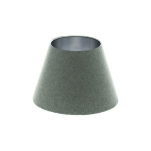 Light Grey Wool Empire Lampshade Brushed Silver Inner