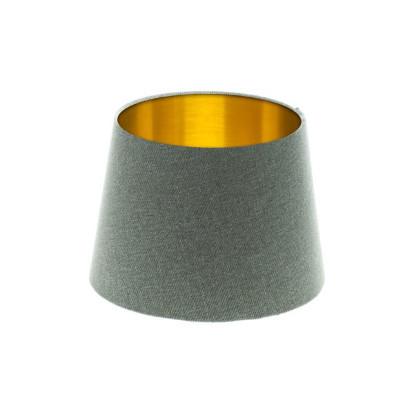 Light Grey Wool French Drum Lampshade Brushed Gold Inner