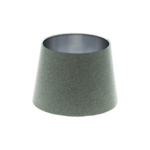 Light Grey Wool French Drum Lampshade Brushed Silver Inner