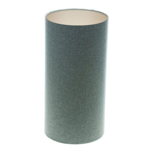 Light Grey Wool Tall Drum Lampshade Champagne Inner