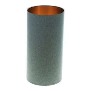 Light Grey Wool Tall Drum Lampshade Brushed Copper Inner