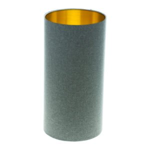 Light Grey Wool Tall Drum Lampshade Brushed Gold Inner