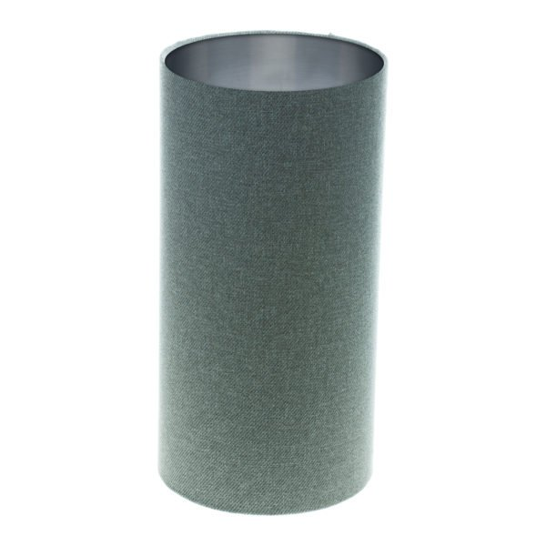 Light Grey Wool Tall Drum Lampshade Brushed Silver Inner