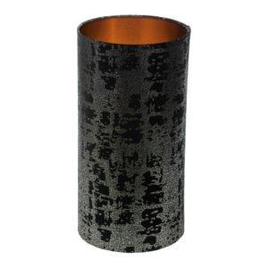 Mercury Black Velvet Tall Drum Lampshade Brushed Copper Inner