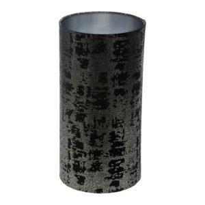 Mercury Black Velvet Tall Drum Lampshade Brushed Silver Inner