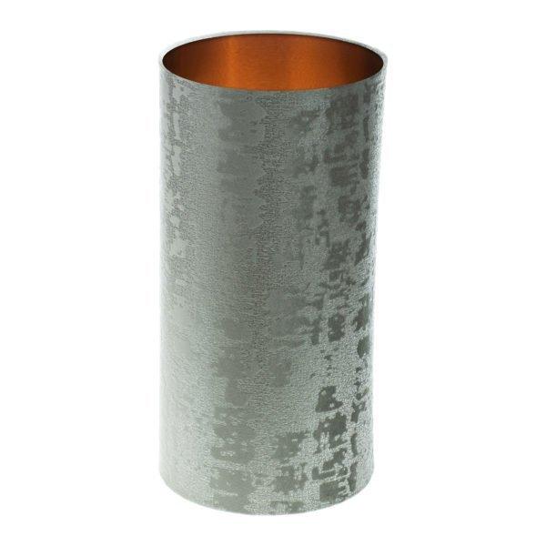 Mercury Dove Grey Velvet Tall Drum Lampshade Brushed Copper Inner