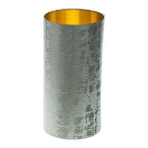 Mercury Dove Grey Velvet Tall Drum Lampshade Brushed Gold Inner