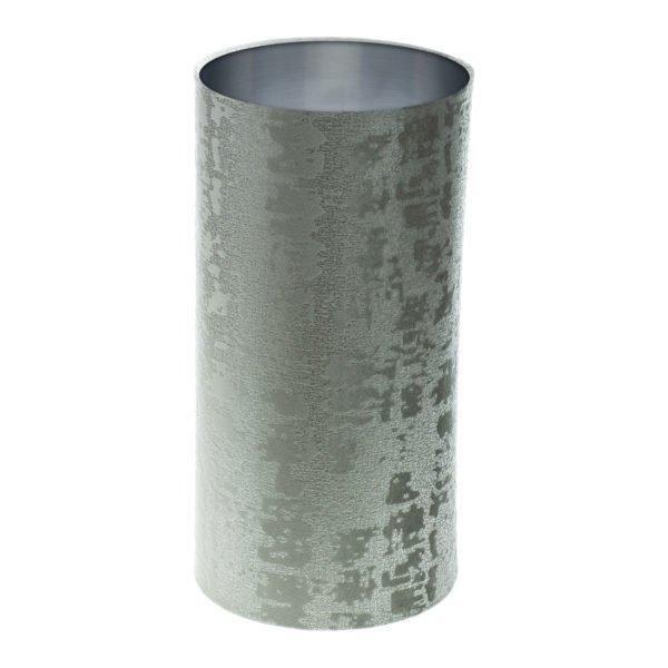 Mercury Dove Grey Velvet Tall Drum Lampshade Brushed Silver Inner