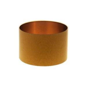 Mustard Yellow Wool Drum Lampshade Brushed Copper Inner