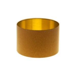Mustard Yellow Wool Drum Lampshade Brushed Gold Inner