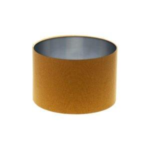 Mustard Yellow Wool Drum Lampshade Brushed Silver Inner