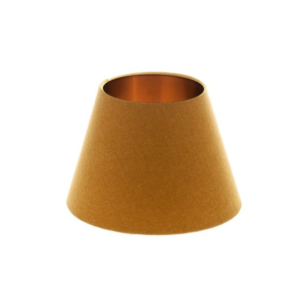 Mustard Yellow Wool Empire Lampshade Brushed Copper Inner