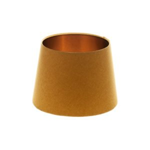 Mustard Yellow Wool French Drum Lampshade Brushed Copper Inner