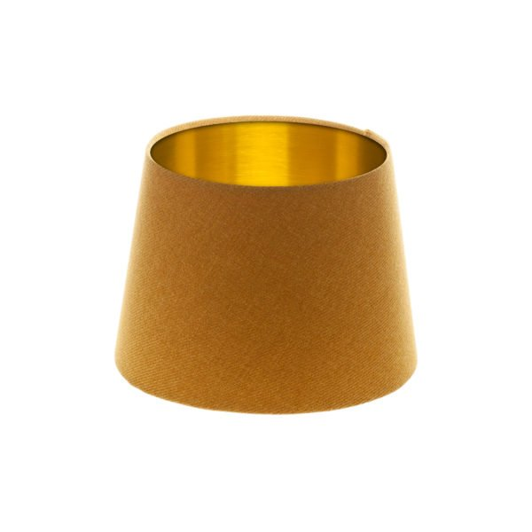 Mustard Yellow Wool French Drum Lampshade Brushed Gold Inner