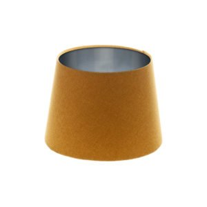 Mustard Yellow Wool French Drum Lampshade Brushed Silver Inner