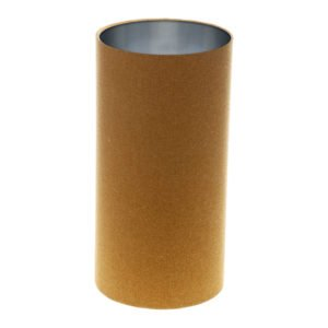 Mustard Yellow Wool Tall Drum Lampshade Brushed Silver Inner