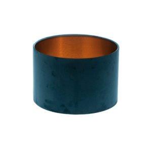 Navy Blue Velvet Drum Lampshade Brushed Copper Inner