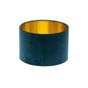 Voyage Navy Blue Velvet Drum Lampshade Brushed Gold Inner