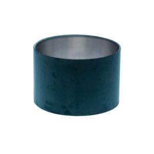Navy Blue Velvet Drum Lampshade Brushed Silver Inner