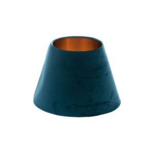 Navy Blue Velvet Empire Lampshade Brushed Copper Inner