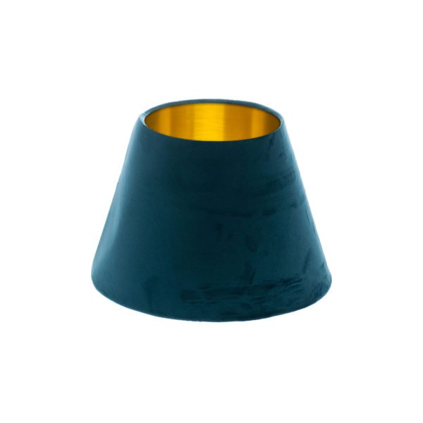 Navy Blue Velvet Empire Lampshade Brushed Gold Inner