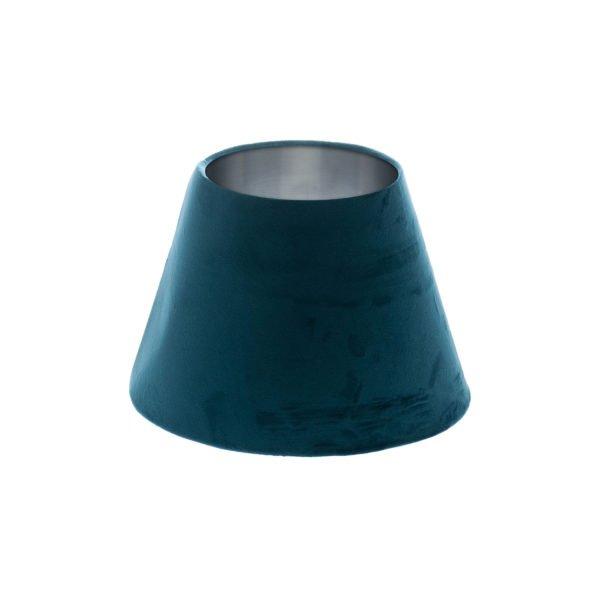 Navy Blue Velvet Empire Lampshade Brushed Silver Inner