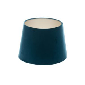 Navy Blue Velvet French Drum Lampshade Champagne Inner