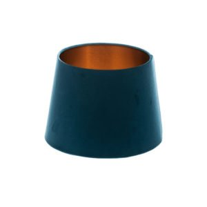Navy Blue Velvet French Drum Lampshade Brushed Copper Inner