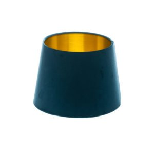 Navy Blue Velvet French Drum Lampshade Brushed Gold Inner