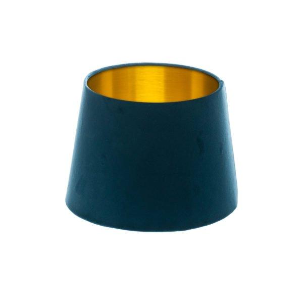 Navy Blue Velvet French Drum Lampshade Brushed Gold Inner