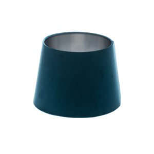 Navy Blue Velvet French Drum Lampshade Brushed Silver Inner