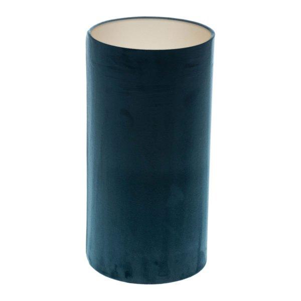 Navy Blue Velvet Tall Drum Lampshade Champagne Inner