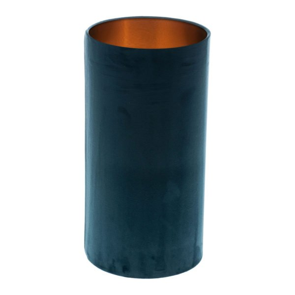 Navy Blue Velvet Tall Drum Lampshade Brushed Copper Inner