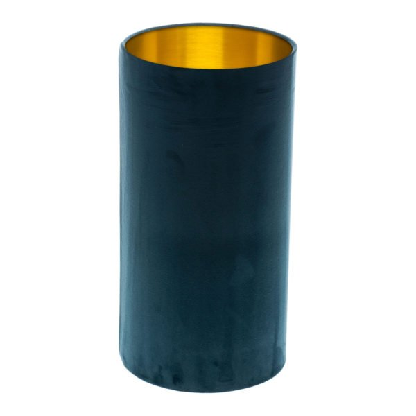 Navy Blue Velvet Tall Drum Lampshade Brushed Gold Inner