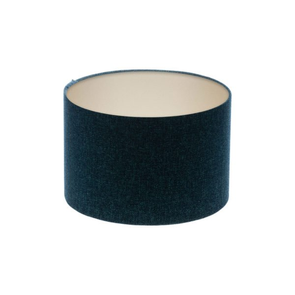 Navy Blue Wool Drum Lampshade Champagne Inner