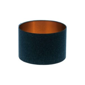Navy Blue Wool Drum Lampshade Brushed Copper Inner