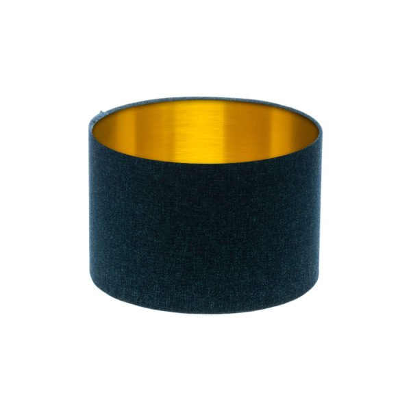 Navy Blue Wool Drum Lampshade Brushed Gold Inner