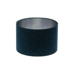 Navy Blue Wool Drum Lampshade Brushed Silver Inner