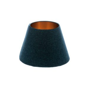 Navy Blue Wool Empire Lampshade Brushed Copper Inner