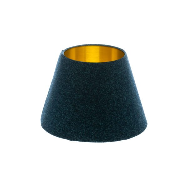 Navy Blue Wool Empire Lampshade Brushed Gold Inner