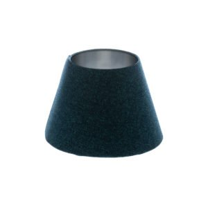 Navy Blue Wool Empire Lampshade Brushed Silver Inner