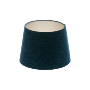 Navy Blue Wool French Drum Lampshade Champagne Inner
