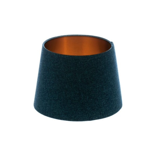 Navy Blue Wool French Drum Lampshade Brushed Copper Inner