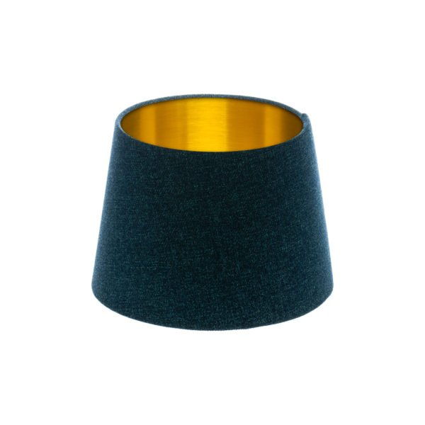 Navy Blue Wool French Drum Lampshade Brushed Gold Inner