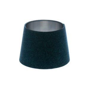 Navy Blue Wool French Drum Lampshade Brushed Silver Inner