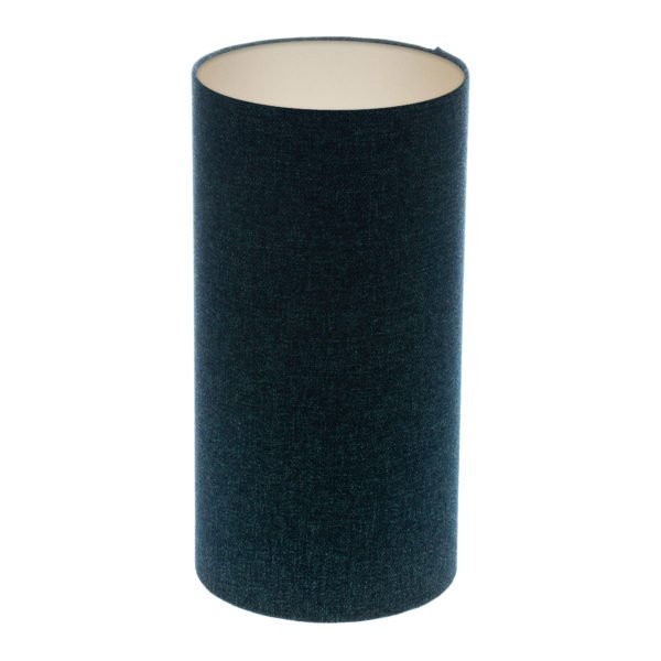 Navy Blue Wool Tall Drum Lampshade Champagne Inner