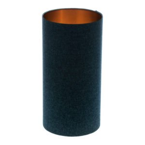 Navy Blue Wool Tall Drum Lampshade Brushed Copper Inner